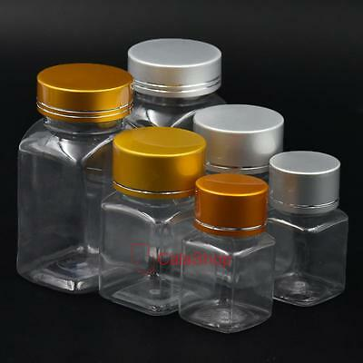 30 60 120ML Empty Plastic Sample Vial Storage Bottle Turn Screw Cover Cap Square