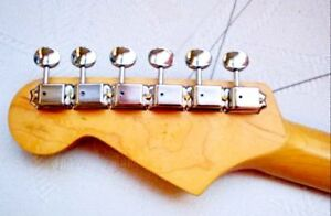 Aged 50s Vintage Kluson Nickel 6 In Line Tuners fits to Fender Strat and Tele