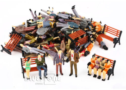 100 Painted 1:50 People Passenger Figures+5 Park Bench Train Scenery OO Scale