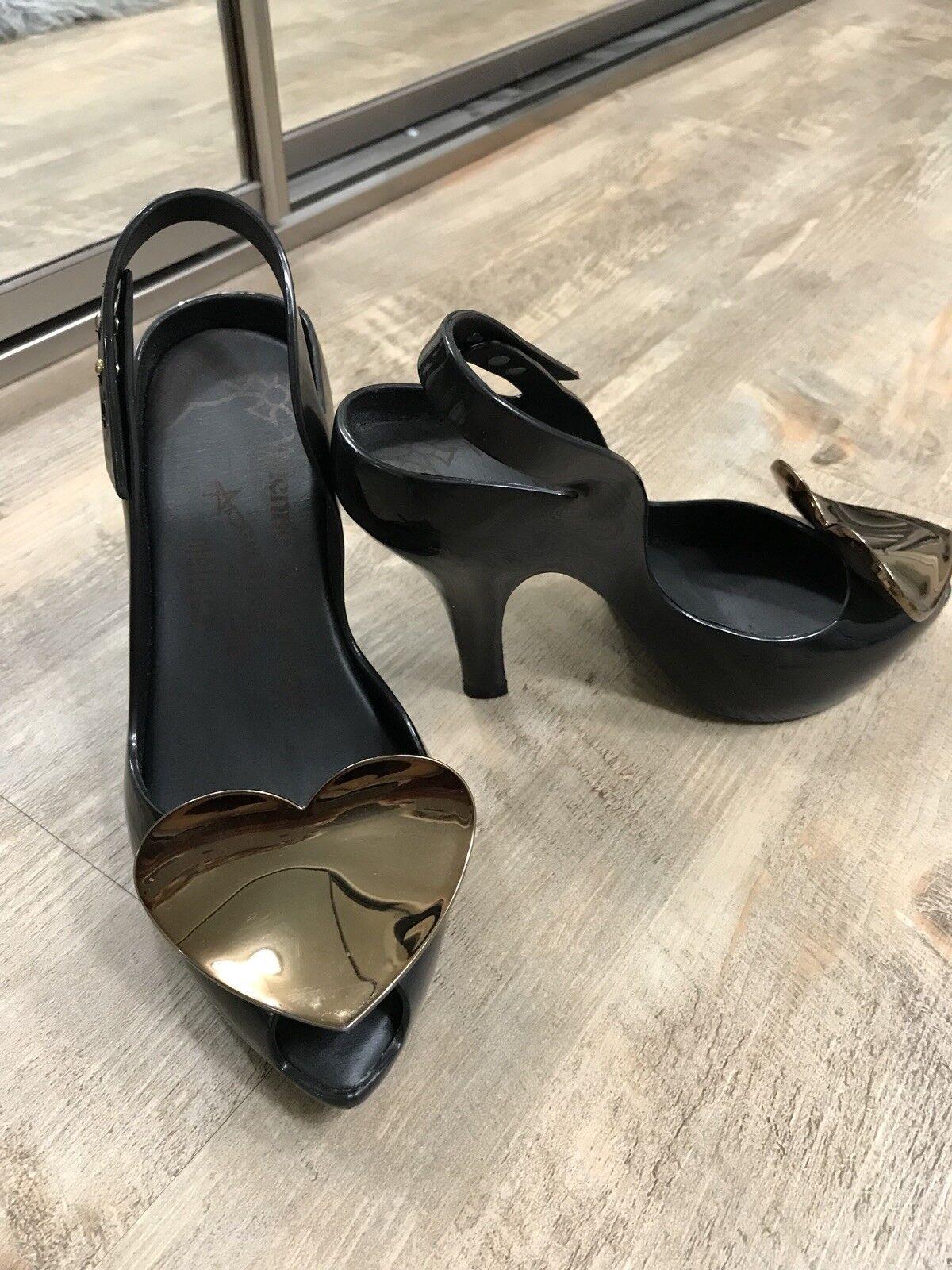 Vivienne Westwood Anglomania Pour Melissa VW Lady Dragon Bow II, chrome noir