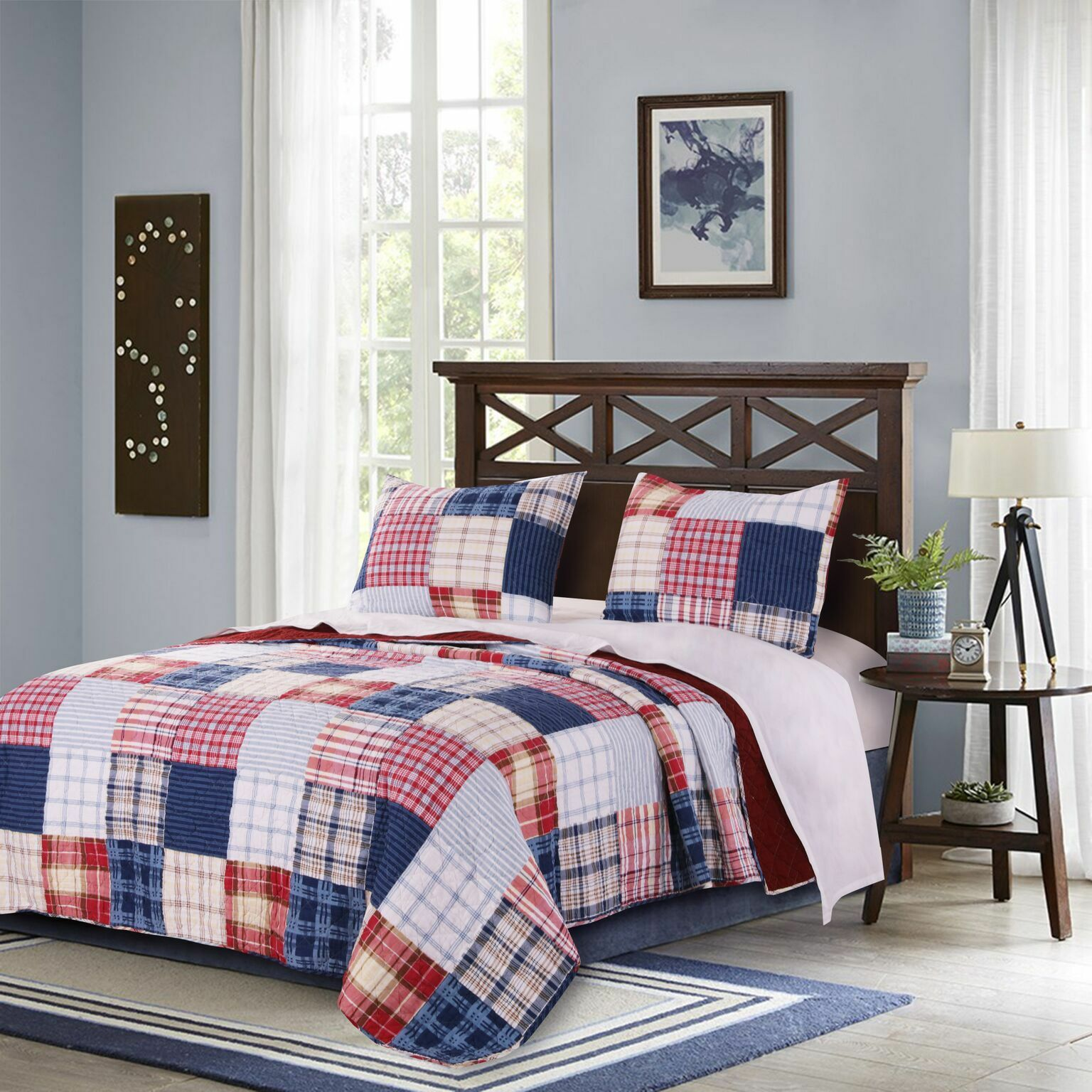 King Quilt Set Red bluee White Plaid Collegiate Americana Bedding
