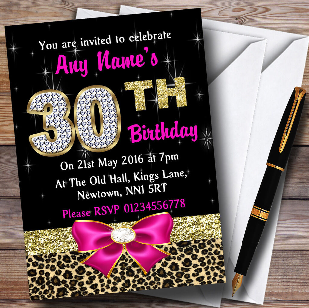 Rosa Rosa Rosa Diamond And Leopard Print 30Th Birthday Party Personalised Invitations 7153dc