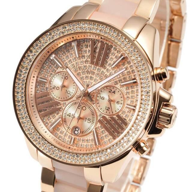 Womens MK Michael Kors MK6096 Rose Gold Ceramic Crystal Watch RRP £299