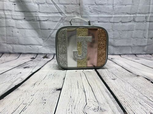 NEW JUSTICE Gold Glitter Stripe Initial  Backpack /& Matching Lunch Box Tote