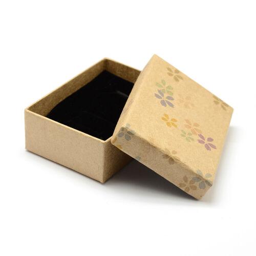 24PCS Kraft Jewelry Box for Pendant Rectangle Flower Pattern 9x6.3x3.2cm