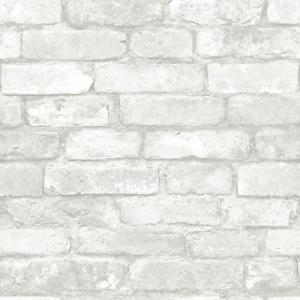 """Nuwallpaper /""""Gris et Blanc Brique/"""" Peel et Bâton Papier Peint"""