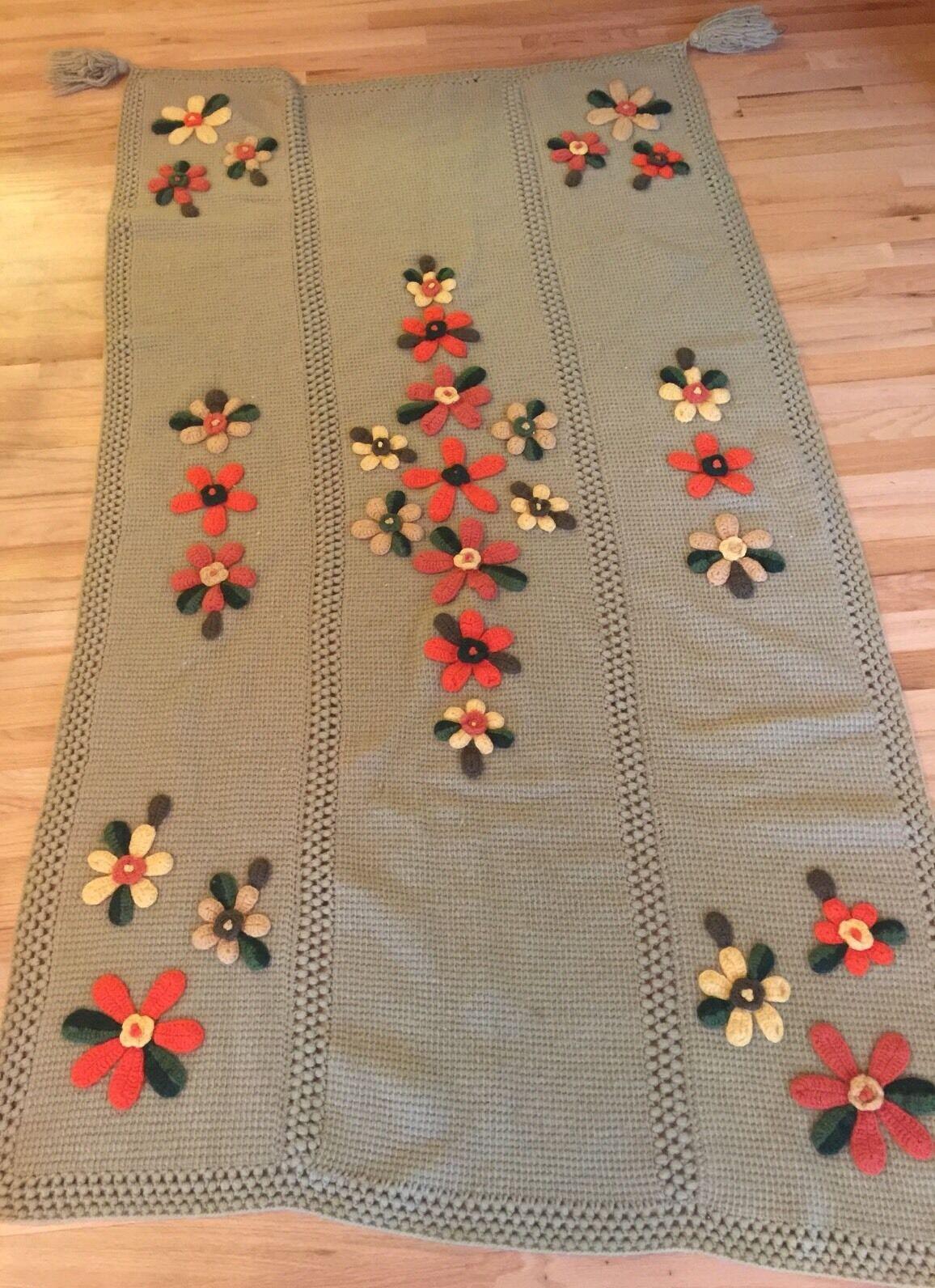 Hand Crocheted Knitted afgano Flor embellecido 42 X 77  estilo vintage y retro