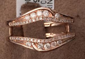 Solitaire Enhancer Round Diamonds Ring Guard Wrap 10k Rose Gold