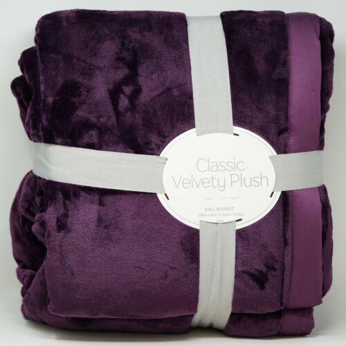 Berkshire Classic Velvety Faux Fleece Plush Blanket Eggplant Purple KING