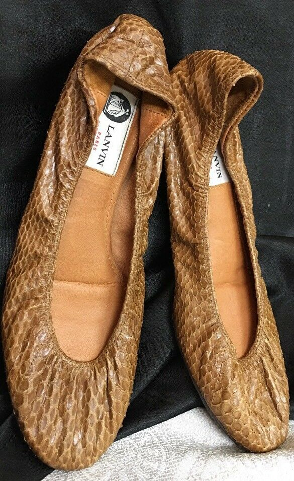 Lanvin shoes Brown Snake Flat Size 40 Fits Size 9
