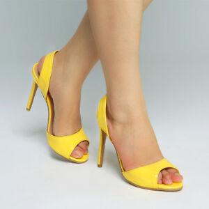 New-Women-Yellow-Slingback-High-Heels-Peep-Toe-Sandals-Casual-Fashion-Shoes