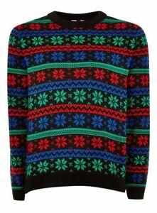 TOPMAN-Men-039-s-Snowflake-Stripe-Acrylic-Sweater