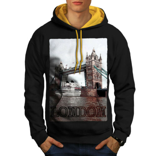 hoodie New London Tower Bridge Urban kap contrast Heren Blackgouden 43Aq5jRcL