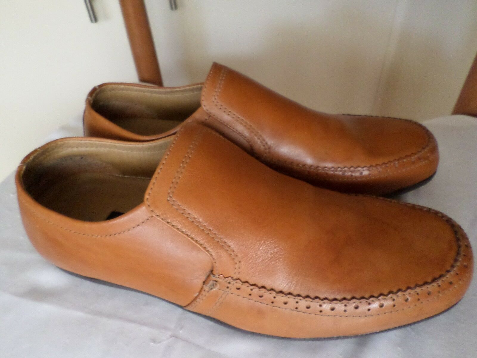 MENS TAN LEATHER LOOK SLIP ON SHOES NEW LOOK LEATHER 04a117