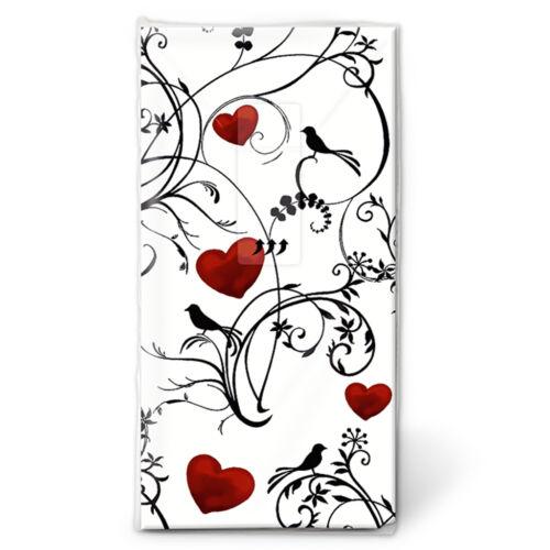 """Taschentücher 10 Stk für die Freudentränen Hochzeit /""""Ornament with Hearts/"""" 01296"""