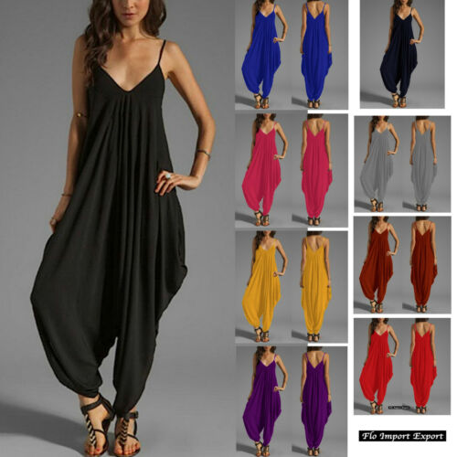 Woman Jampsuit Romper 660003 Tuta Pantaloni Harem Donna Scollo V 10 colori
