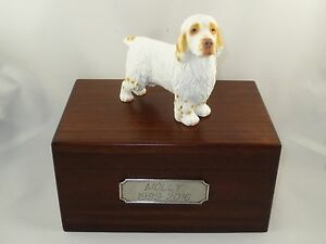 Beautiful Paulownia Wooden Personalized Urn With Clumber Spaniel Figurine