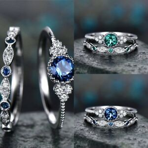 925-Silver-White-Topaz-Emerald-Sapphire-Engagement-Wedding-Ring-Jewelry-6-10