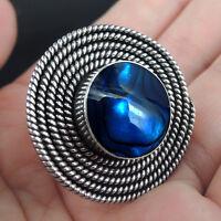 Large BLUE PAUA ABALONE SHELL & 925 Sterling Silver Ring, Size P-UK, 8-USA