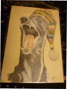 Greyhound-in-Hat-Yawn-Dog-Art-Print-A4-Matte-Dog-Art-Bargain-Price-Surplus-Stock