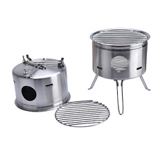 Portable Stainless Steel Outdoor Camping Wood Stove Alcohol Furnace Stove P⑤