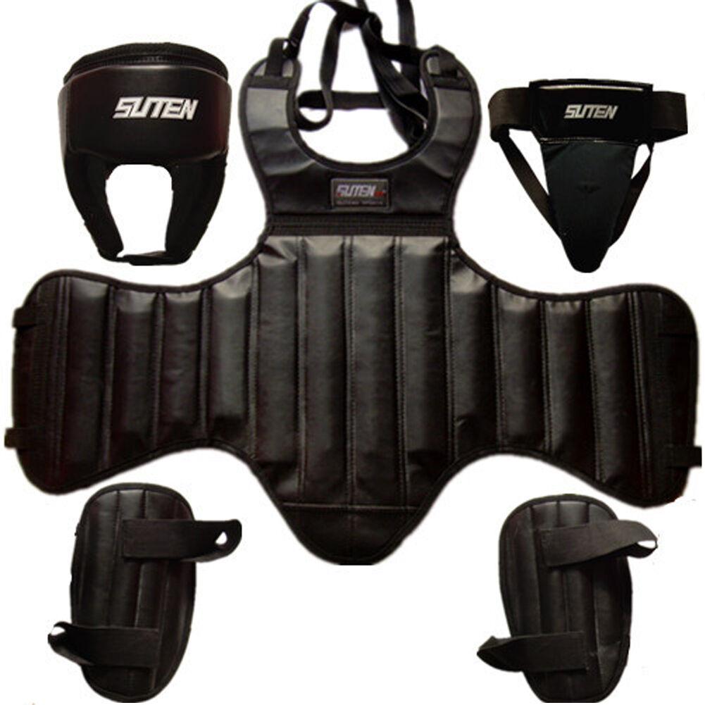 Predective Gear Sanda Head Chest Credch Leggings Pad Suit Guards Taekwondo Gym
