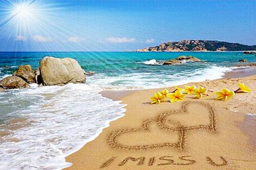 Fashion DIY 5D Diamond Painting Love heart Beach Landscape Full drill Art 4017Y