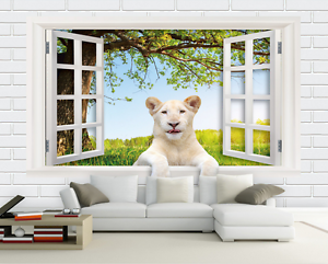 3D Grassland Tiger Tree Paper Wall Print Wall Decal Wall Deco Indoor Murals