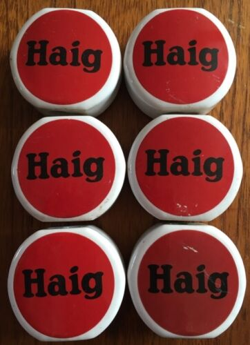 6 x Rare Vintage Haig Whisky Ceramic Pourer Labels