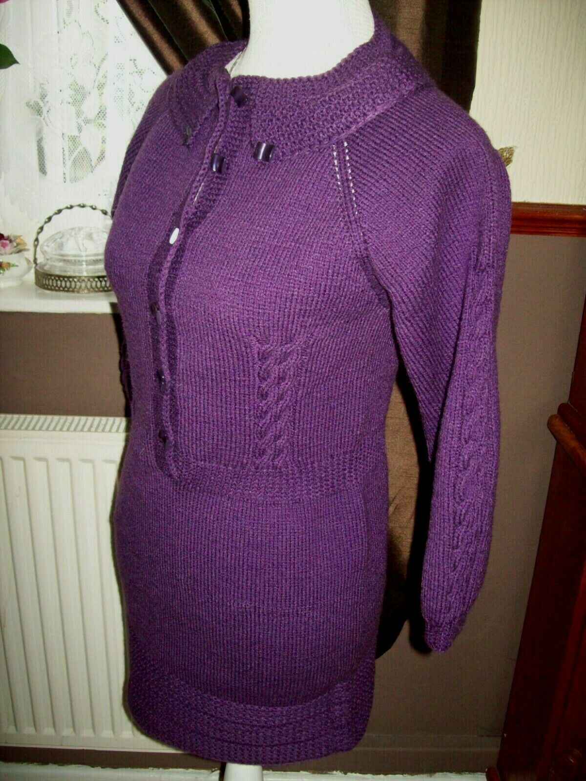 New Pretty Ladies Purple hand knitted tunic dress