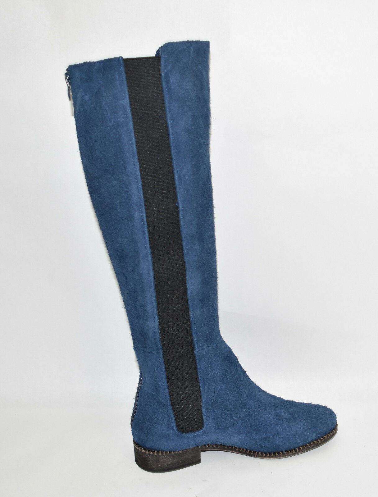 New  Free People EU Callow Tall Boot Blau Distressed Suede Sz 37 EU People 7 US Back Zip 348701