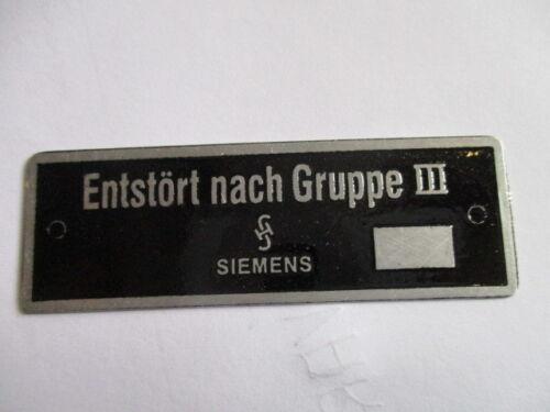 Placa de identificación escudo siemens kiloohmios por Grupo III Wehrmacht Kdf WW II 2 WK s25