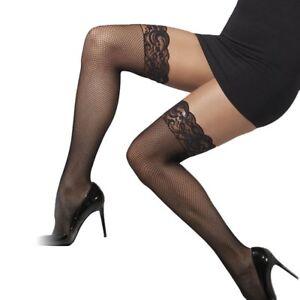 Pur-Noir-Resille-Dentelle-Bas-Autofixant-Femme-Sexy-Deguisement-Taille-Unique