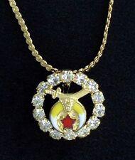 Masonic Shrine Ladies Pendant & Chain with Stones (SHP-2)