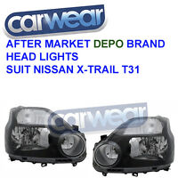 Head Lamp Suit Nissan X-trail T31 07-09 Black Halogen Head Lights
