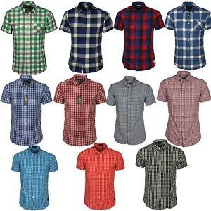Jack-amp-Jones-Carreaux-Chemises-a-Manches-Courtes-Col-Decontracte-en-Coton-Slim-Fit-Chemises