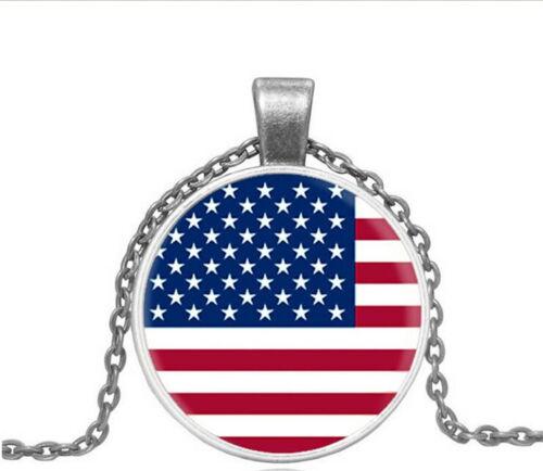 Vintage drapeau américain Cabochon Argent Verre Chaîne Collier Pendentif WC126