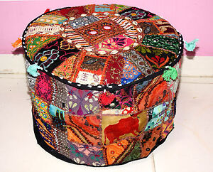 HANDMADE-ROUND-SEATING-POUF-RAJKOTI-EMBROID-BOHEMIAN-PATCHWORK-OTTOMAN-UNFILLED