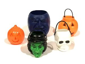 Vtg-Blow-Mold-Lot-Halloween-Candy-Container-TRICK-OR-TREAT-Foam-RARE-Green-Witch