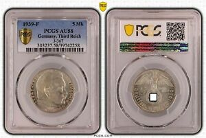 Tercer Imperio 5 Reichsmark Hindenburg 1939 Para PCGS Certificado AU58 51322