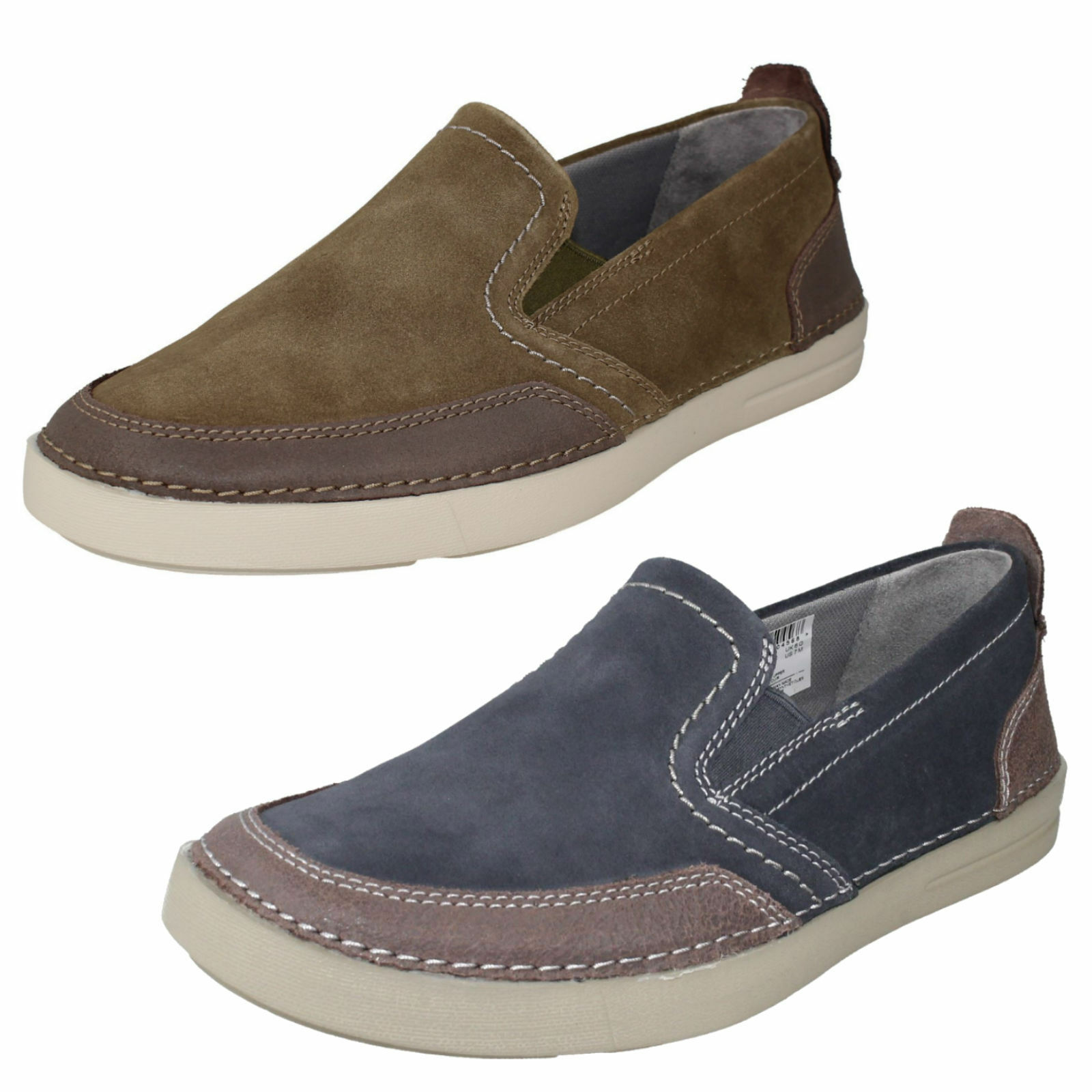 MENS CLARKS  SUEDE SLIP ON CASUAL LIGHTWEIGHT MOCCASIN SHOES GOSLER RACE