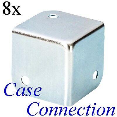 8x Flachecke - 37mm - Stahl - verzinkt  Flat Corner flache Kofferecke Boxen Ecke