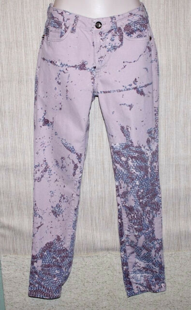 JUST CAVALLI ITALY COTTON PINK GRAY SLIM FIT MULTICOLORED WOMEN PANTS SIZE:27