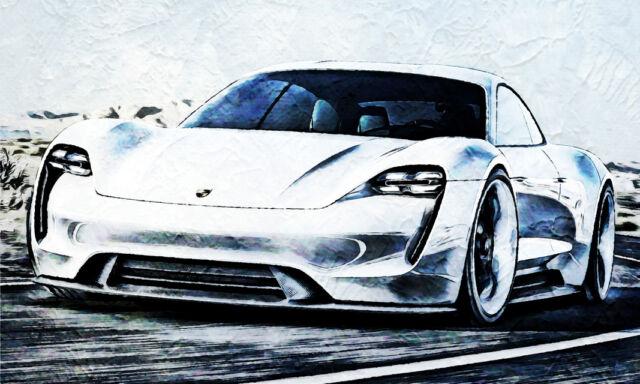 LEINWAND BILD ER XXL POP ART PORSCHE 911 ABSTRAKT AUTO RACER BUNT POSTER 150x90