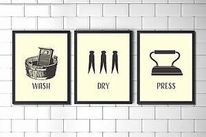 set of laundry room prints laundry print laundry wall