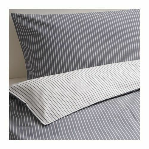 Ikea Rodnarv King size Duvet Cover /& 4 Pillowcases Grey striped