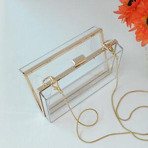 New-Women-Lady-Acrylic-Perspex-Clutch-Bag-Bags-Chain-Shouder-Bag-Purse-Satchel