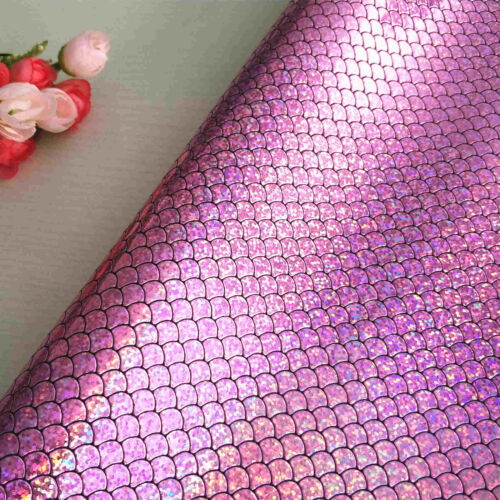 A4 Holographic Mermaid Scale Fabric Sequins Faux Leather Leatherette Bows Craft