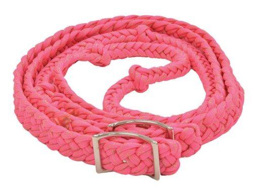 Partrade Braid Barrel Rein 8/' Flat Comfort Knots EquiSky Gold Glitter//Pink