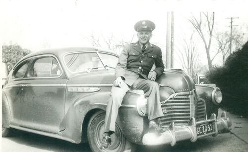 1942 WWII Black and White Photograph Picture Soldier Vintage Buick Car Michigan